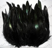Перья 200pcs/lot 6-10cm Black color badger saddle pretty Rooster feathers Black Feathers