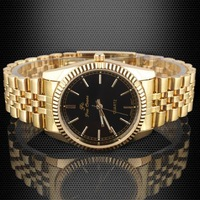 1x Black Dial Quartz Dress Watch Men Elegent Golden Strap stl hch  590TN