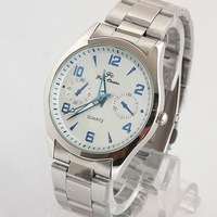 Free CN Post Elegent Men Silver Dial Stainless Steel Band Quartz Blue Index Watch stl hch  620TN