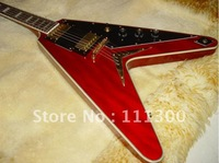 best Flying guitar black with red stripes Electric guitar HOT