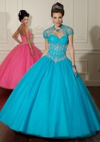 New arrival!tulle sweet neckline beaded embroidery with jacket custom-made ball gown prom dress 2013
