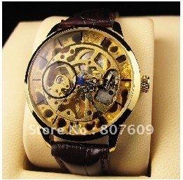 Luxury Mens Watch Gold Tone Skeleton A Leather Watch Automatic Luxury Imitation Gold Quartz Stem-Winder Wrist Watch 1pcs/lot