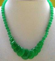 genuine fine asia green jade bead girl necklace