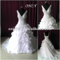 OL5447  Free Shipping Real Sample Organza Sash Beads wedding Dress 2012