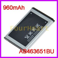 Battery AB463651BU For Samsung B3410 B5310 C3200 C3518 C5510 C3730C C5180 C6112 F278 F339 F400 F408 J800 J808 960mah 2pcs/lot