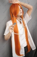 ~Bleach.Inoue Orihime.649.Orange 100cm long straight cape anime costume cosplay wig,free shipping