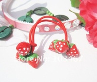 wholesale price!  red color strawberry kid's hair bands hair jewelry nice design-free shipping