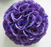 purple wedding decoration 30cm wedding silk kissing ball purple-plastic inner