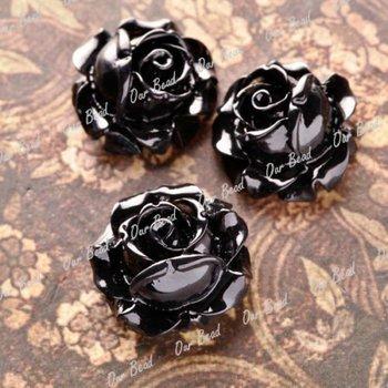 12pcs Resin Black Flower Cabochons 15x15mm Black Round RB0747-21
