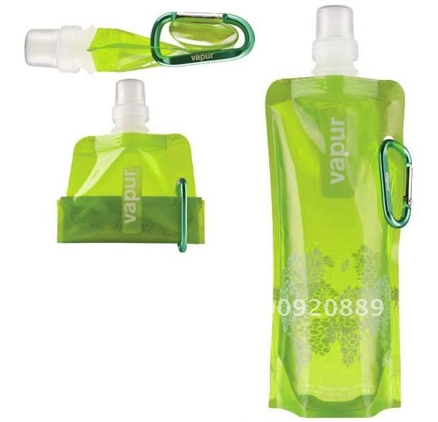 600pcs/lot Hot Sale 480ml Sport Folding Outdoor water bag/jug/bottle with Carabiner holder Reusable Foldable Attachable(China (Mainland))