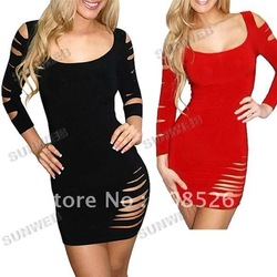 2013 New Sexy Little Get Ripped Cut Out Slashed Sleeve Ripped Mini Dress free shipping 3626(China (Mainland))