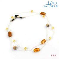 Free Shipping 10pcs/lot Handamde Beaded Crystal Metal Acrylic Gold Brown Fashion Eyeglasses Chain GL006