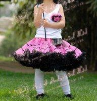 Wholesale - 2014 New Childrens Girl Chiffon Pink Tutu Skirt Black Satin Stripe Age:2-7Y Free Shipping