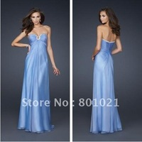Free Shipping Hot selling Fashion Style V-Neck Beaded A-line 2013 Chiffon Evening Dressess Plus Size