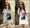B204 New Womens Batwing Tshirts Cool Tops Loose summer Womens Portrait printed Tshirt Irregular Broadside pocket designed Tops