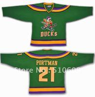 Halloween costumes Dean Portman #21 Mighty Ducks Movie Hockey Jerseys Stitch Sewn Green Mix order
