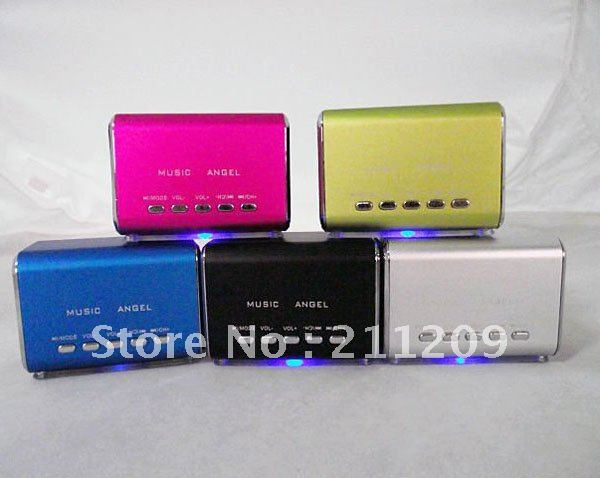Free ship wholesale  200pcs Portable mini Music angel multimedia Speaker, Support  TF card speaker MD07+ Crystal  box