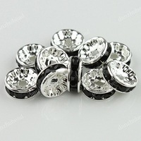 Free Shipping 200X Wholesale Crystal Silver Plated Black Spacer Loose Beads Jewelry Findings 10MM [BD69C*200]