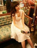 Женское платье S-XL manufacturers supply Women's Harness of the yellow flowers flounced chiffon dress #A9754