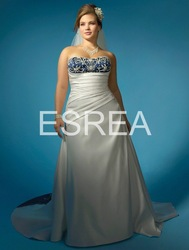 MA0069 Plus Size Gown White And Blue Satin With Embroidery Junoesque Wedding Dress(China (Mainland))