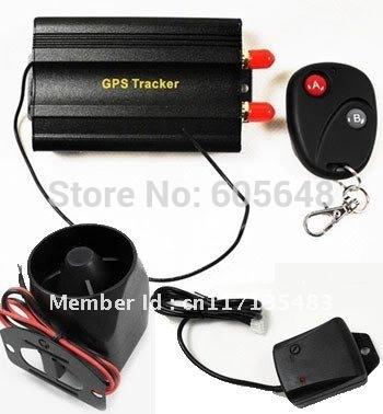 Hot OEM Quad-band Auto Vehicle Car GPS Tracker Alarm System TK103B + Shake Sensor+ Siren Freem PC software(China (Mainland))