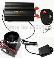 Hot OEM Quad-band Auto Vehicle Car GPS Tracker Alarm System TK103B + Shake Sensor+ Siren Freem PC software