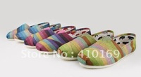2012 new canvas shoes rainbow low-heeled shoes leisure shoes