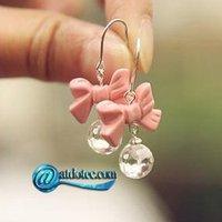 Min Order 12$ Fashion Jewelry Lovely Pink Bowtie Crystal Earrings Alloy Rhinestone Earring ES0101