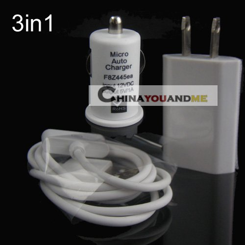 100pcs us plug wall charger +100pcs car charger +100pcs 1m charger cable for iPhone 4/4S/3G/3GS/ for ipod Free shipipng(China (Mainland))