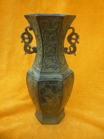 Rare Old MingDynasty bronzeBronze gold-plating  Vase, good carving, with mark, free shipping