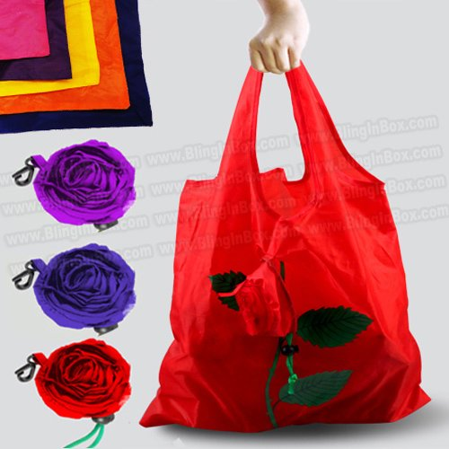 Rose flower bag 10pcs/lot shopping foldable bag many colors mixed available rose bag handle Bag+free shipping(China (Mainland))