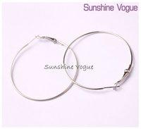 DIY hoop earrings, 50mm,silver color, earring accessories, fashion earrings, 100pcs/lot,CPAM free shipping