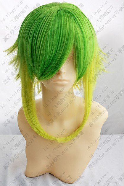 Vocaloid.Gumi,1323,Shaggy layered Fusion Green gold mix short anti alice Cosplay Cos Wig,Artificial Fiber wig.free shipping(China (Mainland))