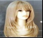 Free Shipping Best Seller New Stylish Blonde  Long Straight  Lady's Fashion Sexy Synthetic Hair Wigs