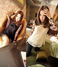 Lace lady Chiffon shirt with 5pcs/lot with free shipping.(China (Mainland))