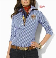 Free shipping/2012 new arrival/Hot selling/new pure cotton/women's long sleeve brand shirt/ladies' blouse-blue