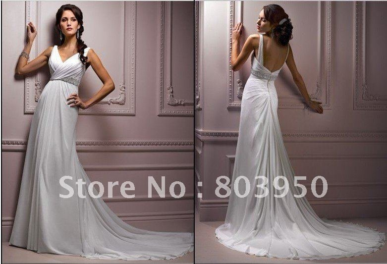 New design Work A-Line Court Train Ziper V-neck Wedding dress Bridal dress V-49