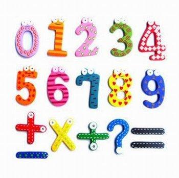 2 set/pack Retail 15pcs/set Cute Wooden Cartoon Arabic Numbers Magnetic Stickers (KF-04)