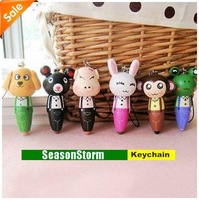 6 pcs/pack Mixed Style Fashion Wooden Cute Animal Pens Mobile Phone Chain / Gift Key Chain (SC-15)