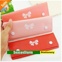 [CPA Free Shipping] Wholesale Lovely Bowknot Cortical Pen Bag / Pencil Case Stationery 20pcs/lot (SP-66)