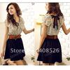 Korean Women's Summer New Fashion Chiffon Dress Short-sleeve Dots Polka Waist Mini Dress M,L,XL Beige+Black Free Shipping 2792