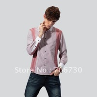 (5PCS/LOT) Free Shipping,2012 Newest Hot,Wholesale stitching stripe long-sleeved shirt,Men's LeisureSize(S-XXL)3ColorsSA100
