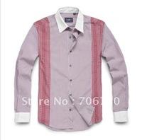 (5PCS/LOT) Free Shipping,2012 Newest Hot,Wholesale stitching stripe long-sleeved shirt,Men's LeisureSize(S-XXL)3ColorsSA101