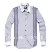 (5PCS/LOT) Free Shipping,2012 Newest Hot,Wholesale stitching stripe long-sleeved shirt,Men's LeisureSize(S-XXL)3ColorsSA102