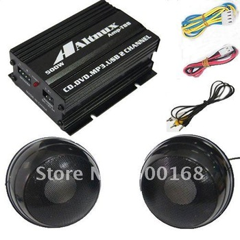 2 CH 500W Car Audio Amplifier Motorcycle AMP ATV MIT75N MP3 iPod Amplifier with speaker T88A