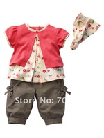 5 sets/lot- dark pink pajamas sets/Girl's clothes set