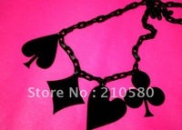 HIPHOP Punk Fashion Jewelry Poker Black Necklaces 80CM