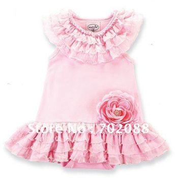 Free shipping 5pcs 2012 dress romper pink flower dress Ball Gown dress