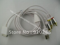 50pcs/lot Newest Composite AV Video to TV RCA Cable USB Charger For iPad ipad 2 & 3 iPod Touch iPhone 4G 4S 3GS(China (Mainland))