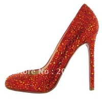 Classique New Luxury Orange Diamond Lady Pigalle Point-toe High Heel Pumps Shoes